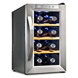 Ivation 8 Bottle Countertop Thermoelectric Wine Cooler/Chiller Red & White Wine Cellar with Digital Temperature Display, Horizontal Freestanding Refrigerator Smoked Glass Door Quiet Operation Fridge