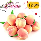 BcPowr 12PCS Fake Fruit Peach - Artificial Fruit Plastic Artificial Lifelike Peach Simulation Pink Peach Fake Home Display Decoration For Still Life Paintings, Storefront Decoration(Pink,2.95'x 3.15')